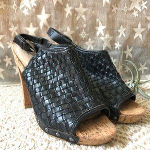 Elliott Lucca • Black Woven Leather Cork Heels